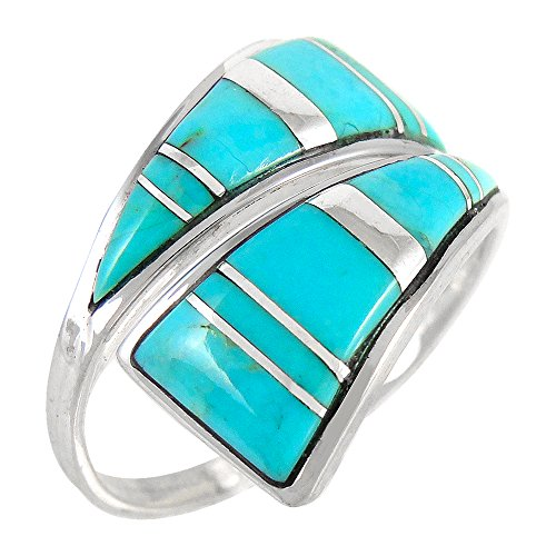 925 Sterling Silver Ring with Genuine Turquoise Size 5 to 12 (10)