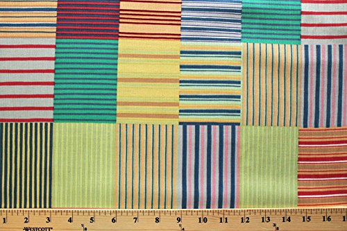 Corduroy Patch Patchwork Stripes Striped Blocks Cotton Fabric Print by The Yard (7442R-8L-patchwork) ()