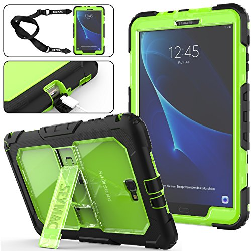 Galaxy Tab A 10.1 T580/T585 Case (NOT for other 10.1 inch Tablet), [Full-body] & [Shock Proof] Hybrid Armor Protective Case with Kickstand & Shoulder Strap for Galaxy Tab A 10.1'' Tablet (Green+Bl