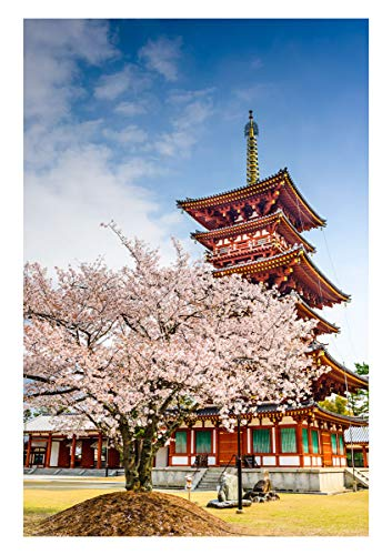 Japan Cherry Blossoms Photo Background 5X7ft Spring Sakura Temple Photography Backdrop for Photo Studio Background Props Home Indoor Party Photo Props BT010