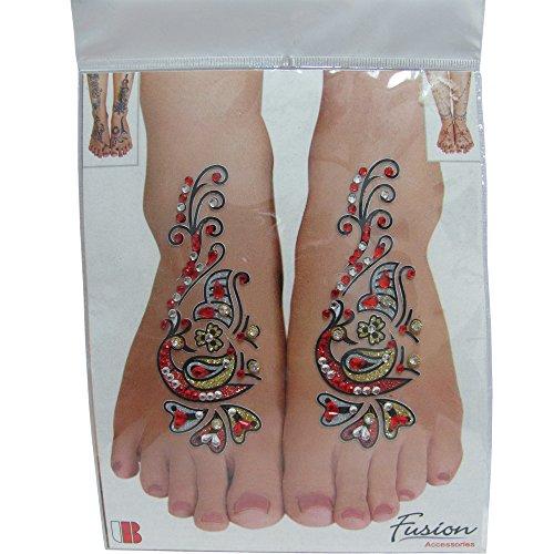 (Indian Fashion Art Bollywood Feet Tattoo Sparkling Rhinestone Stick-On Reuseable Bindi)