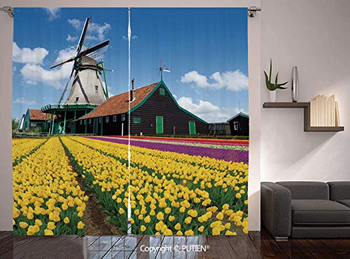 (Thermal Insulated Blackout Window Curtain [ Windmill Decor,Rustic Dutch Landscape with Colorful Yellow Tulips European Countryside Decorative,Multicolor ] for Living Room Bedroom Dorm Room Classroom K)