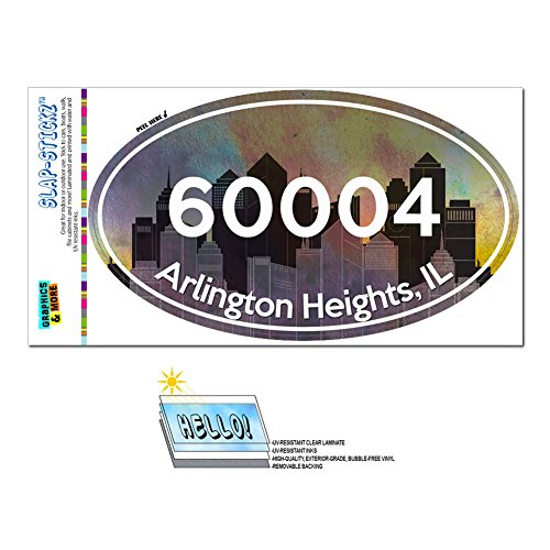 Graphics and More Zip Code 60004 Arlington Heights, IL Euro Oval Window Bumper Laminated Sticker - (City Of Arlington Heights Il)