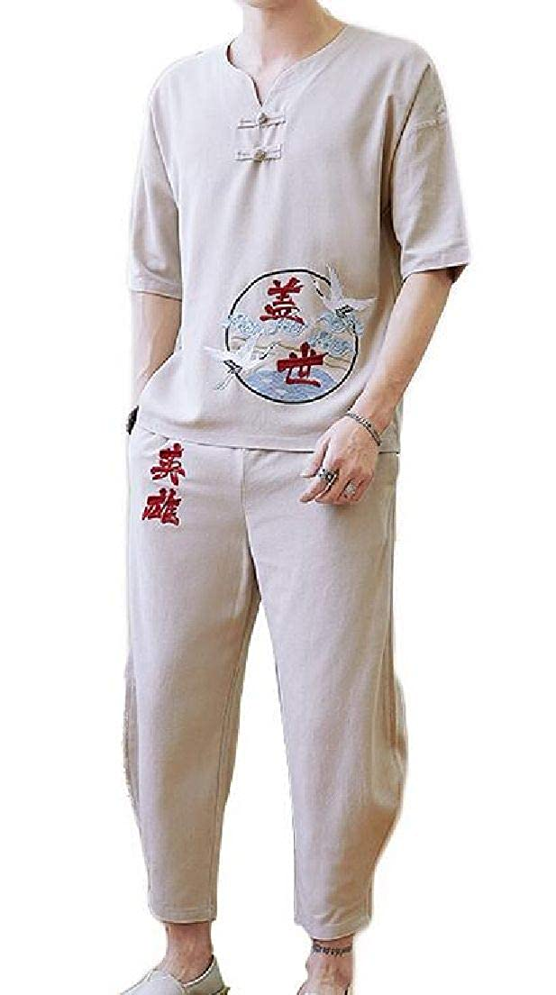 Nanquan Men Chinese Style Short Sleeve Linen Frog Button Embroidery Top and Bottom