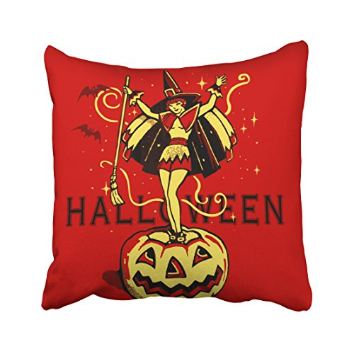 Accrocn Halloween Witch Girl Vintage Throw Pillow Covers Cushion Cover Case 18x18 Inches Pillowcases One Sided (Cosmic Kids Yoga Halloween)
