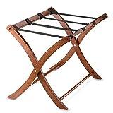 Foldable Solid Wood Frame Luggage Rack in Walnut