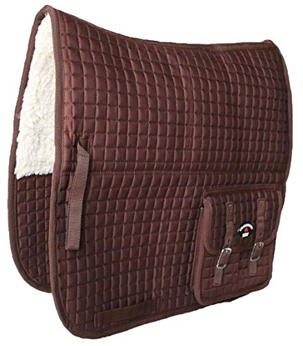 CHALLENGER Horse Quilted English Saddle PAD Pockets Aussie Australian Fleece Dressage 7270
