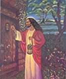 Black Jesus Christ Knocking religious Print Poster 13 x 19in