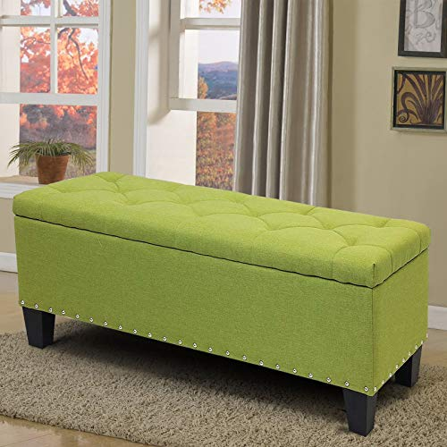 Magshion Rectangular Storage Ottoman Bench Tufted Footrest Lift Top Pouffe Ottoman, Coffee Table, Seat, Foot Rest, and More (42'', Linen Olive)