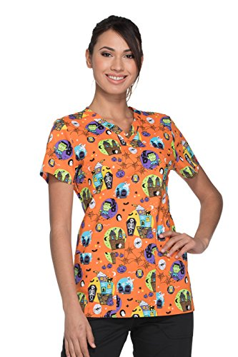 Dickies EDS Signature by Women's V-Neck Halloween Print Scrub Top Small (Halloween Print Scrub Tops)