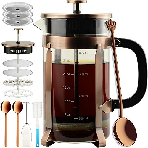 ADAMITA French Press Coffee Maker 8 cups 34 oz French Press 304 Stainless Steel Coffee Press with 4 Filter Screens System, Precise Scale Heat Resistant Borosilicate Glass BPA Free Complete Bundle