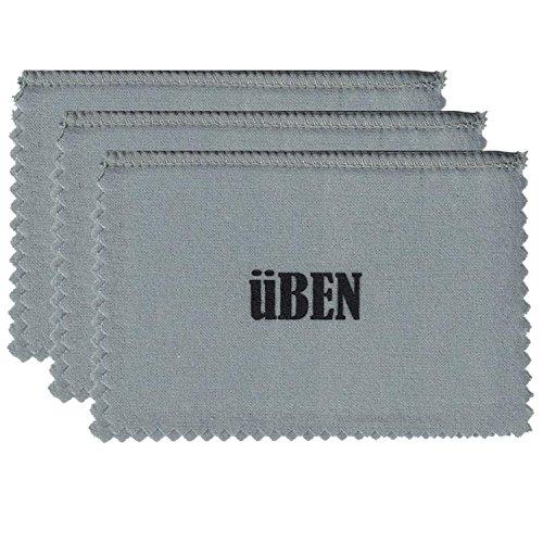 UBEN Medium Jewelry Polishing Cleaning Cloth for Gold, Silver, Platinum 6 x 8 -Set of 3 Grey/White Cloths