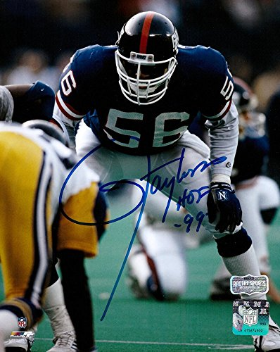 Taylor Autographed Lawrence Football - Lawrence Taylor Autographed/Signed New York Giants Color 8x10 Photo with