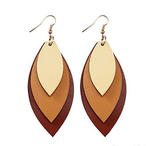 TIDOO Jewelry Women Three Layers Leather Drop Earring (4# Beige+Brown)