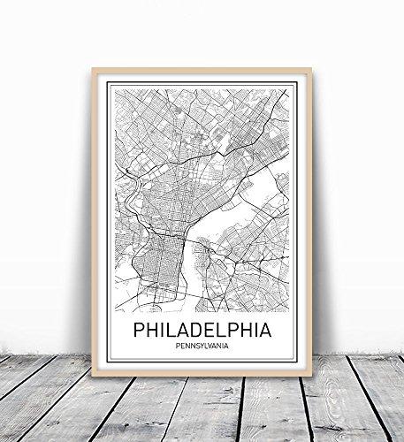 City Maps, City Map Poster, Philadelphia Map Print, Philadelphia Poster, US city Map, Map Print, Map Art Print, Black and White, Map Wall Art, Map Art, Modern City Art, Scandinavian Poster, 8x10 - Philadelphia Contemporary Art