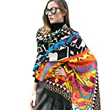 Dana Xu Women's Large Traditional Cultural Wear Pashmina Scarf (Colorful)
