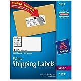 """5163 Avery Easy Peel Address Label - 2"""" Width x 4"""" Length - 1000 / Box - Rectangle - 10/Sheet - Laser, Inkjet - White"""