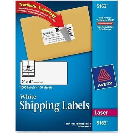 amazoncom 5163 avery easy peel address label 2 width x 4 length 1000 box rectangle 10sheet laser inkjet white office products
