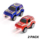 Aole Car Toys, Electronic Off-Road Jeep Car Toy Compatible with Race Car Track Toys Set Diecast Toy Vehicles with 3 Lights Cars for Toddlers Kids Boys