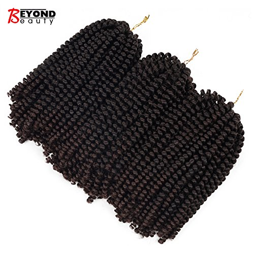 3 Pack Spring Twist Ombre Colors Crochet Braids Synthetic Braiding Hair Extensions Low Temperature Fiber (T1B 33) (Hair Extensions Large)