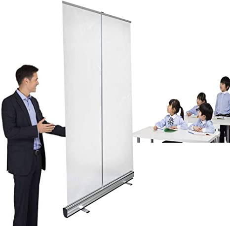 TCYLZ Floor Standing Sneeze Guard,Portable Divider Partition Stores Portable Pull-Out Banner with Clear Screen Shield for Office Classroom and More Restaurant