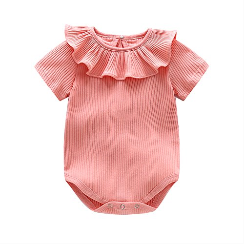 Ding Dong Baby Girl Summer Princess Ruffle Solide Romper£¨Pink,12-18M£