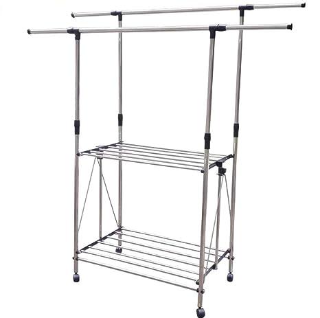 AINIYF Rack doble resistente de alta resistencia, ropa ...