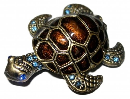 Jeweled Sea Turtle - Jeweled Sea Turtle Enamel and Crystal Pewter Jewelry Trinket Box
