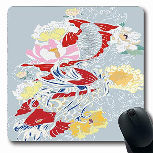 LifeCO Computer Mousepad Tattoo Watercolor Painting Scarf Koi Fish Flower Abstract Design Spring Oblong Shape 7.9 x 9.5 Inches Oblong Gaming Non-Slip Rubber Mouse Pad Mat ()
