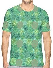 K0k2t0 Men's 3D Printed T Shirts,Mandala Hippie Boho Floral Swirls Detailed Pattern with Emerald Green Backdrop Art