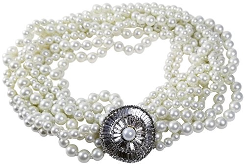 HamptonGems KENNETH JAY LANE-VINTAGE-8 ROW WHITE PEARL & DECO PAVE CRYSTAL CLASP NECKLACE (Kenneth Vintage Lane Jay)