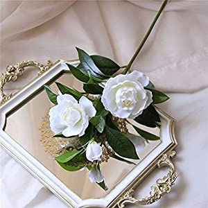 KMCMYBANG Artificial Plant Gardenia Flowers Artificial Silk Bouquets for Office Home Wedding Parties Decor(White,Yellow) Fake Mini Potted Grass (Color : White, Size : One Size) 4