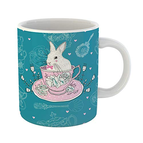 Emvency Funny Coffee Mug Pink Afternoon Tea Cups Teapot Teaspoons Rabbit Easter Bunny China Saucer Cake 11 Oz Ceramic Coffee Mug Tea Cup Best Gift Or Souvenir