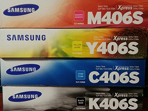 (Printing Samsung 406 Genuine color Toner Cartridge Set (CLT-K406S CLT-C406S CLT-M406S CLT-Y406S))