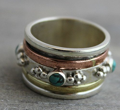 Sterling Silver (925) Turquoise Brass Copper Bohemian Spinning Fidget Ring size 9