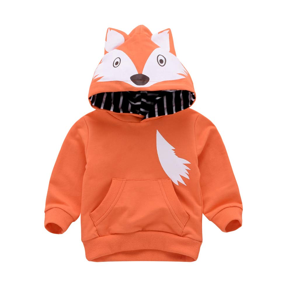 Toddler Kids Cute Tops Age for 0-3 Years Old, Vovotrade Newborn Baby Boys Girls Hooded Sweatshirts Infant Cartoon Fox Print Blouse Hoodies