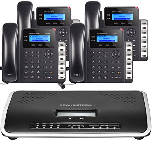 Business Phone System by Grandstream: Starter Package Including Auto Attendant, Voicemail, Cell & Remote Phone Extensions, Call Recording & Free Phone Service for 1 Year (4 Phone Bundle)