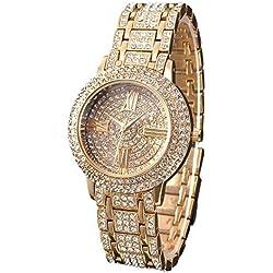 Zeiger New Women Luxury Ladies Analog Quartz Round Watch Bling Jewelry Plated Classic Watch Crystal Charm Bracelet(Gold)