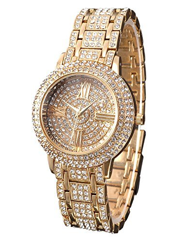 Gold Bracelet Jewelry Watch (Zeiger New Women Luxury Ladies Analog Quartz Round Watch Bling Jewelry Plated Classic Watch Crystal Charm Bracelet(Gold))