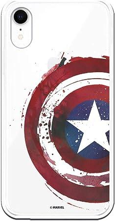 Funda para iPhone XR Oficial de Marvel Capitán América Escudo Transparente para Proteger tu móvil. Carcasa para Apple de Silicona Flexible con ...