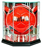 Soccer Ball Hexagon Shaped Glass Display Case with Black Base