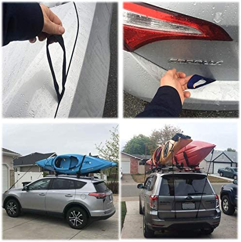 SBH Outdoor Sports Hood Loop Straps Cars Under Hood Anchor Point for Tie Downs Straps Hook Kayak Paddleboard Transport Straps Two Pairs 12 Length