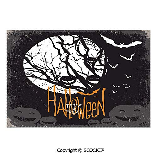 SCOCICI Set of 6 Printed Dinner Placemats Washable Fabric Placemats Halloween Themed Image with Full Moon and Jack o Lanterns on a Tree Decorative for Dining Room Kitchen Table Decoration
