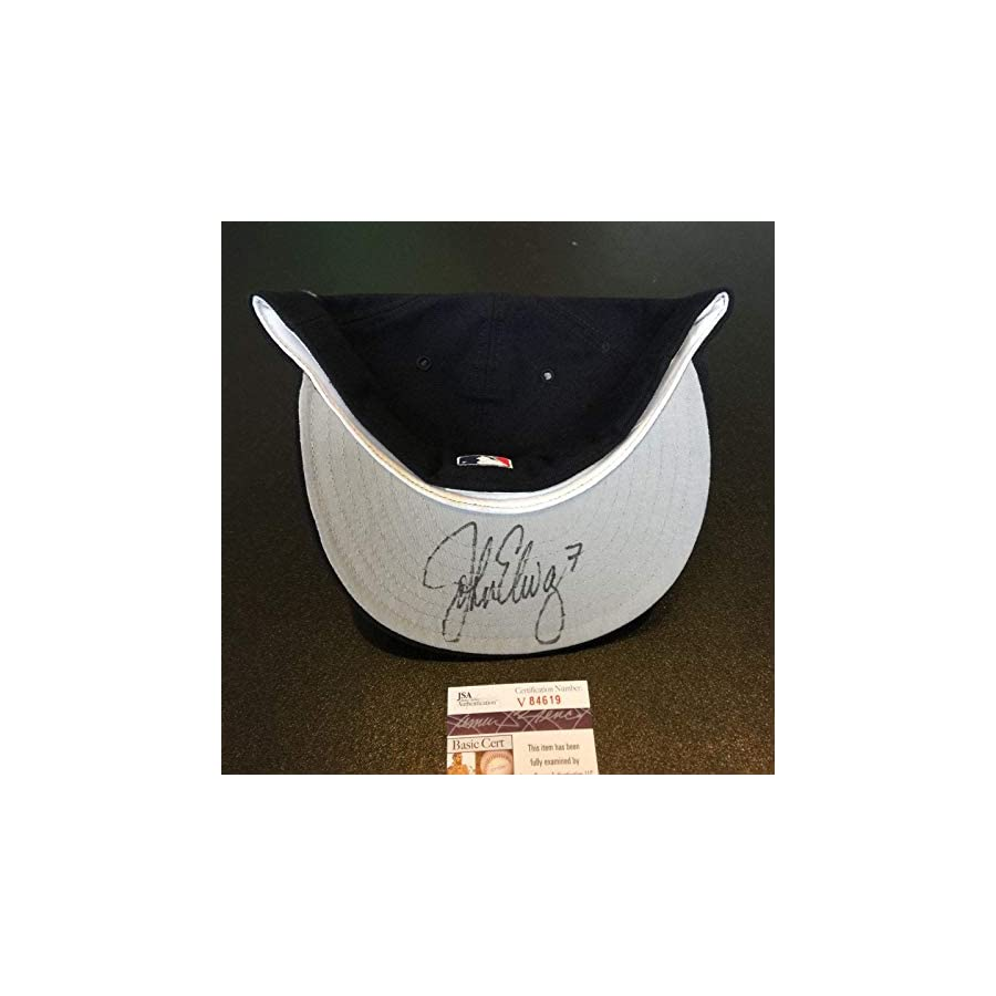 Rare John Elway Signed New York Yankees 1996 World Series Hat Cap COA JSA Certified Autographed Hats