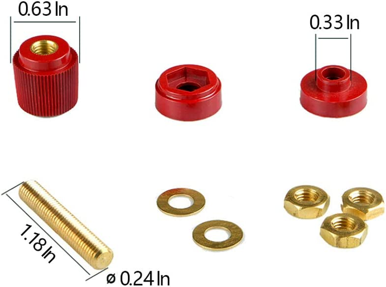 "3//8/"" Premium Remote Battery Terminal Stud Power Junction Post Connector Terminal Kit 2Pcs Red /& Black"