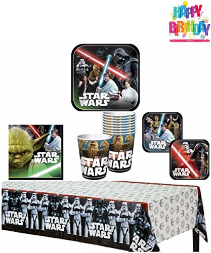 Star Wars Birthday Party Supplies Pack for 8 Guests - 8 lunch plates, 8 dessert plates (4 of each design), 16 lunch napkins, 8 cups, and a table cover (Birthday Star Wars)