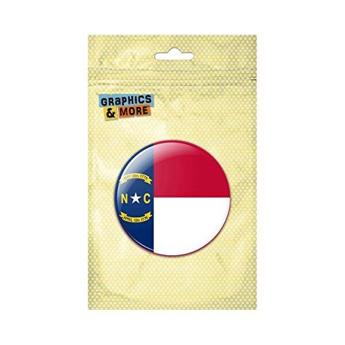 North Carolina State Flag Pinback Button Pin Badge - 2.25 Inch Diameter