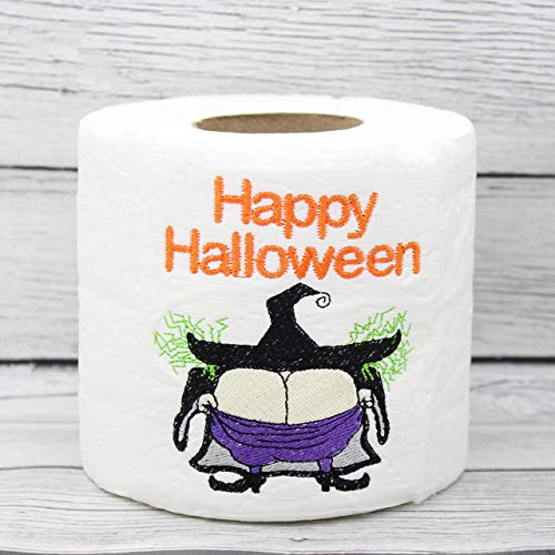 Happy Halloween Witch Butt Embroidered Toilet Paper, Funny Joke Prank Gag Gift -