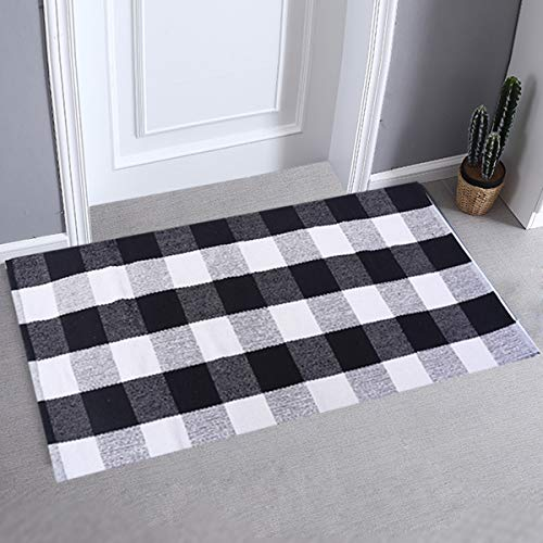 LHtrade Cotton Rug Buffalo Checkered Plaid Area Rug Bath Runner Door Mat for Entry Way Washable BathDoormatBedroom Carpet (24