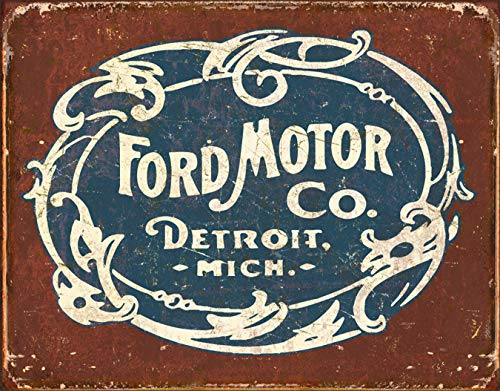 Desperate Enterprises Tin Signs TSN1707-BRK Ford Historic - Tin Round Sign Ford Trucks